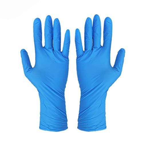 Guantes de vinilo desechables de Rokauy, sin polvo o en polvo, de vinilo, para trabajo, garaje, examen médico, 100 unidades pequeñas, color azul, azul, Large