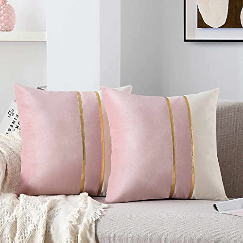 WACOMECO Velvet Throw Pillow Covers - Soft Decorative Cushion Covers Cases with Gold Leather for Sofa Bedroom Livingroom Car, 18 x 18 in, Blush Pink and White