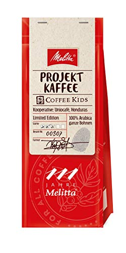 Melitta Ganze Kaffeebohnen, Projektkaffee, 100 % Arabica, vollmundig mit Karamell-Noten, Stärke 3, Projektkaffee Coffee Kids, 250g