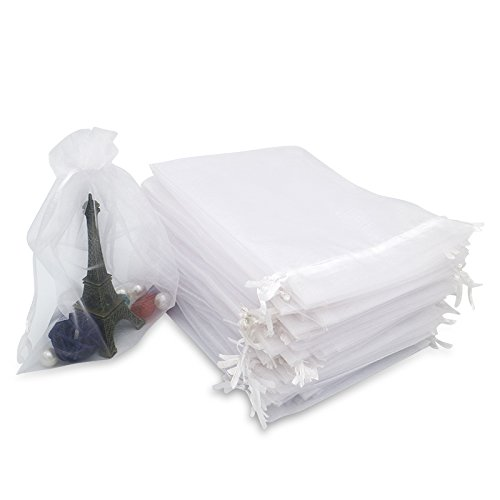 jijAcraft Organza Bags White,100PCS Organza Gift Bags Large 13X18CM Drawstring Pouches Wedding Party Favour Jewellery Bags and Candy Bags