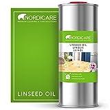 Nordicare Leinöl [1L] für Holz zum Holzschutz I Leinöl Firnis Holzöl für Innen I Leinöl für Möbel Holz Öl, Leinenöl Holz