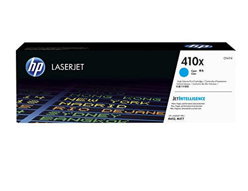 HP 410X | CF411X | Toner Cartridge | Cyan | Works with HP Color LaserJet Pro M452 Series, M377dw, MFP 477 Series | High Yield