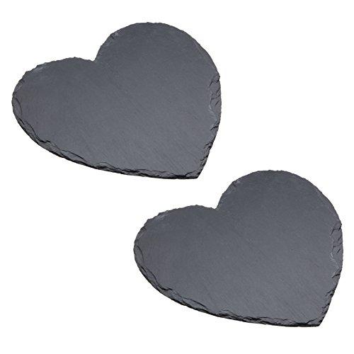 Artesà - Piatti da portata in ardesia a forma di cuore, 25 cm (set da 2)