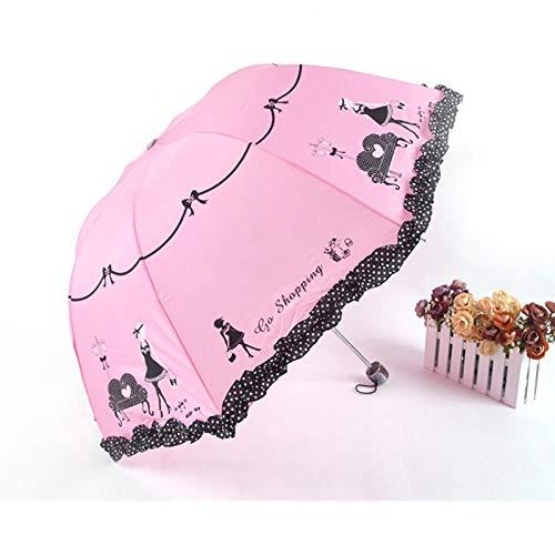 JINYIWEN Paraguas Paraguas de Tres Plegables con Flores de Encaje para Mujer, protección UV, Paraguas de Lluvia y Sol, Paraguas con Estampado de Flores,Estilo 1