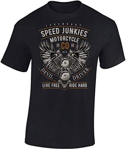 Camiseta: Legendary Speed Junkies - Regalo Motero-s - T-Shirt Biker Hombre-s y Mujer-es - Motocicleta - Bike - Chopper - Moto Club - Anarchy - Motociclismo - Calavera - Motocross (Negro XL)