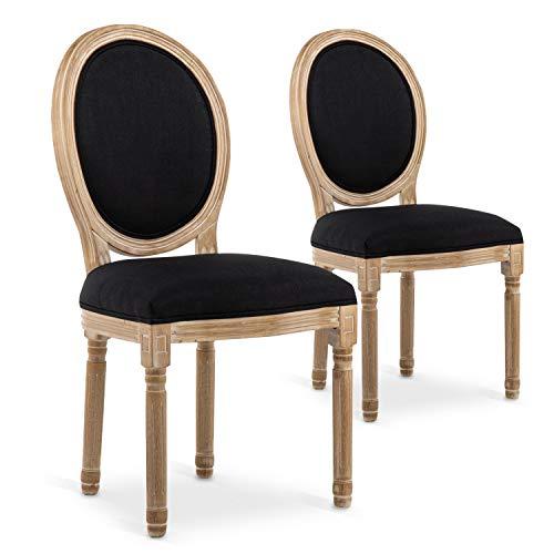 INTENSEDECO Lot de 2 chaises médaillon Louis XVI Tissu Noir