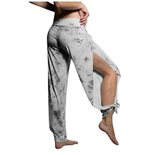 Xniral Damen Tanzhose Schnürung Gespaltene Yoga-Hose Druck dünne Haremshose Jogger Hippie Beach Jogginghose(Grau,3XL)