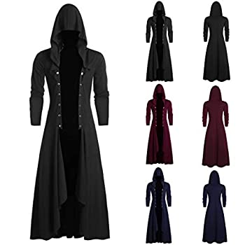 Leewa Coat Men Vintage Gothic Dark Cloak Hood Dressing Gown Steampunk Middle Ages 50s Palace Cosplay Costume Man Party Suits Jacket Halloween Carnival Costumes