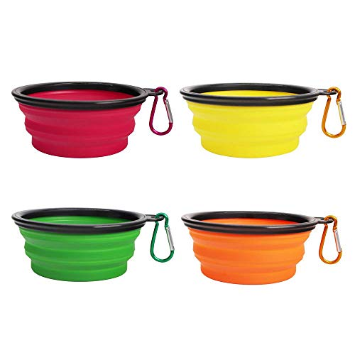 4 Pack Silicone Collapsible Dog Bowls,Portable and Foldable Pet Travel Bowls for Dogs Cats Feeding...