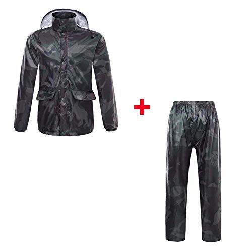 BearHoHo - Set Impermeabile a Doppio Strato e Riflettente, per Pesca e Alpinismo, per Uomo e Donna, Army Green Camouflage, L