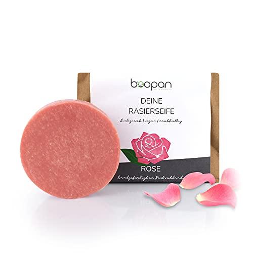 *NEU* boopan® Rasierseife mit Rose handgefertigt in Deutschland - bio Rasierseife Damen & Herren - vegan, plastikfrei, natürlich - 60g (Rose)