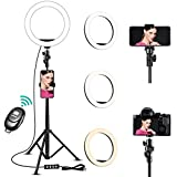 Ring Light,10'' Selfie Ring Light with 60'' Extendable Tripod Stand Phone Ring Light, Remote Control LED Ring Lights,with 10 Brightness Level &3 Light Modes for Makeup and Video (10''Ring Light)
