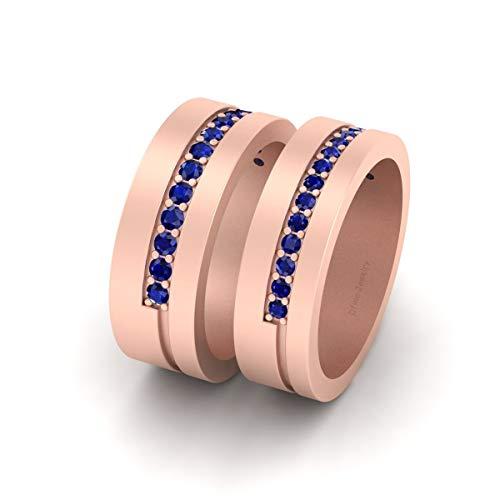 Juego de alianzas de compromiso a juego con diamantes azules para él y su pareja con acabado en oro rosa de plata de ley 925
