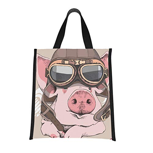 Lunch Bag Funny Pig Retro Leder Aviator Helm Lunchbags für Erwachsene Bunte...