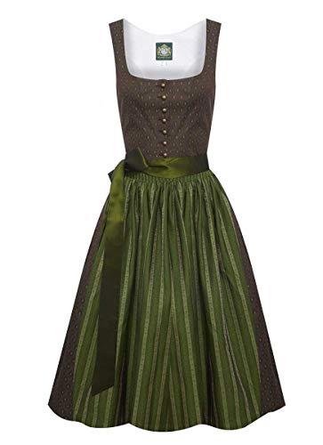 Hammerschmid Damen Trachten-Mode Midi Dirndl Chiemsee in Braun traditionell, Größe:48, Farbe:Braun