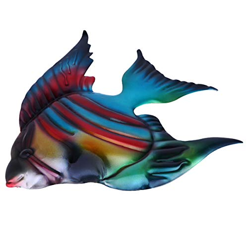 Hemoton Decoração de Parede de Peixes de Metal Estatueta de Peixes Tropicais Arte da Vida Marinha Escultura de Parede de Metal Decoração Pendurada para Pátio de Piscina Esculturas de