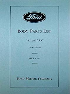 1928-1931 FORD MODEL A & AA BODY PARTS LIST CATALOG