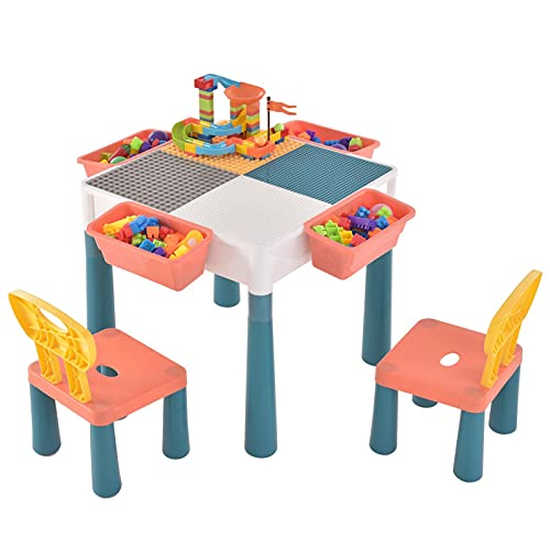CosHall Kindertisch Bausteinspielzeug, Bausteine Spieltisch,Spieltisch Kindertisch Mit 2 Stühle, 1 Aktivitätstisch, 4 Aufbewahrungsboxen, 83 Stücke Blocks Bunte Große Blöcke, Tischstühle Baustein Set