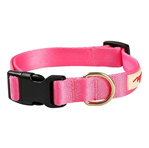 Klassische Halsbänder Haustier-Nylonhalsband Anti-Breathable Goldenes Haar Labrador Alaska Kleiner Hund Magenta, L