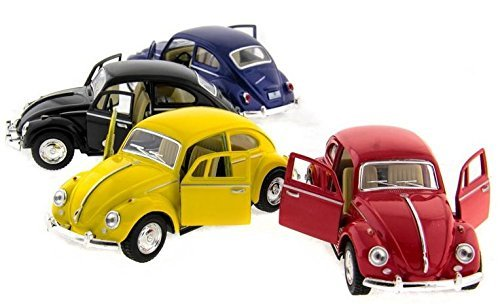 "Set of 4: 5"" Classic 1967 Volkswagen Beetle 1:32 Scale (Black/Blue/Red/Yellow) by Kinsmart"