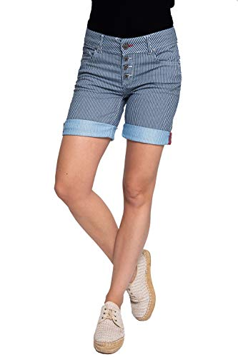 Coccara Damen Shorts Curly Button Shorts Blue Stripe 29