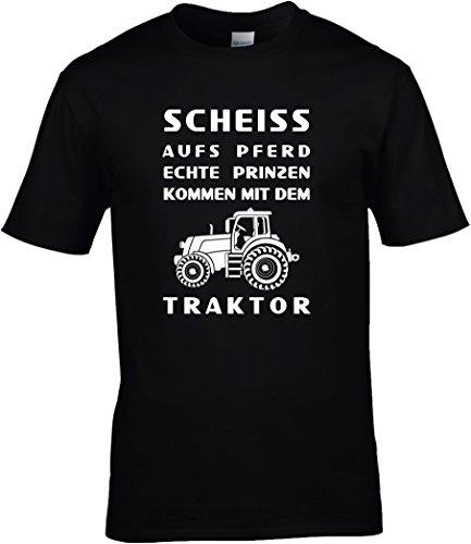 Fun Shirt Sprüche Landwirt Scheiss aufs Pferd echte Prinzen kommen mit dem Traktor, T-Shirt, Grösse XXXL, schwarz