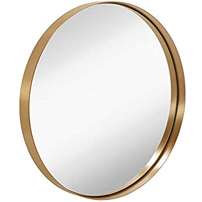 """Hamilton Hills 24"""" Gold Circle Deep Set Metal Round Frame Mirror Contemporary Gold Wall Mirror 