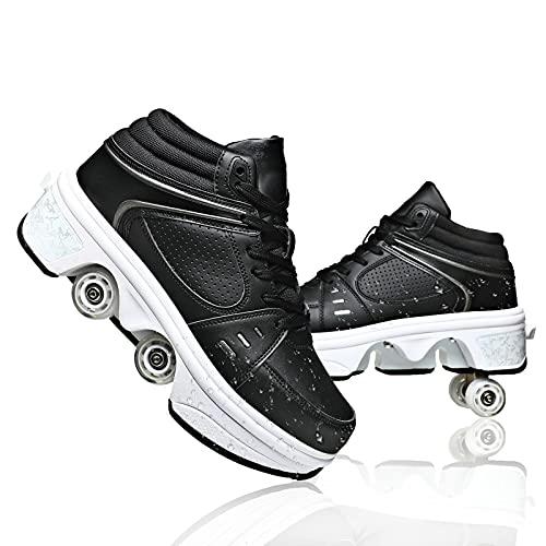 Dytxe-shelf Deformación Patines De Ruedas LED Luces Luminosas Zapatos De Roller Ajustable Cuatro Ruedas Patines Calzado Deportivo Al Aire Libre