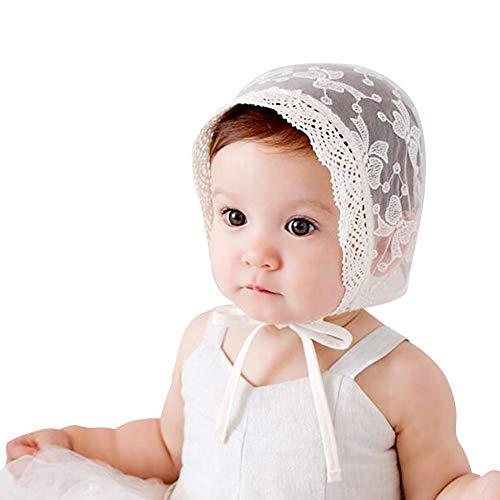 IMLECK Infant Bucket Sun Hat Bow Full Lace Flower Bonnet Child Hat