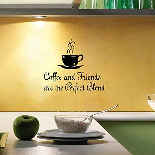 Modeganqingg Etiqueta de la Pared de la Cocina del café café y Amigos Etiqueta de la Pared del Vinilo Restaurante, Arte de la Pared de la Cocina Mural Negro 56cmx50cm