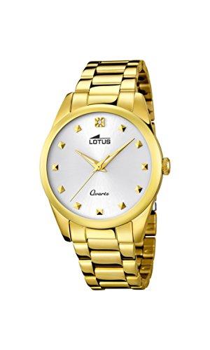 Lotus 18143/1 – Reloj analógico para Dama con Pantalla Dorada y Correa de Acero Inoxidable chapada en Oro (Mecanismo de Cuarzo).