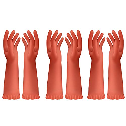 MR.SIGA Gants de Lavage de Vaisselle Réutilisables, Gants de Nettoyage Ménagers pour Salle de Bain et Cuisine, Taille Petite, 3 Paires