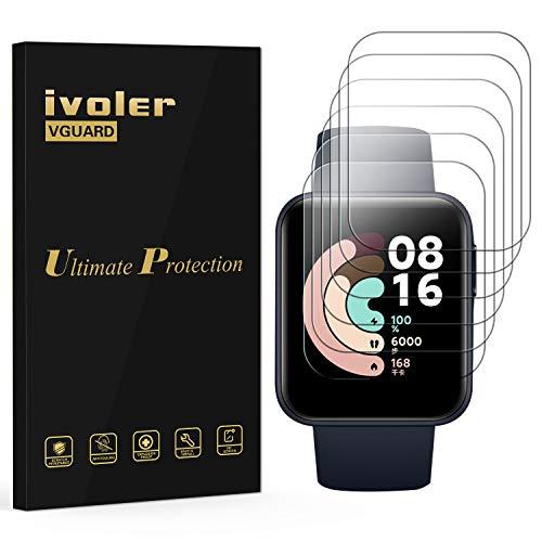 iVoler 6 Pezzi Pellicola Protettiva per Xiaomi Mi Watch Lite, Wet Applied Protezione Schermo [Bubble-Free-Riutilizzabile] HD Clear Film in TPU