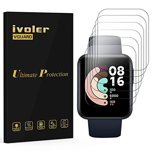ivoler 6 Unidades Protector de Pantalla para Xiaomi Mi Watch Lite, [Cobertura Completa] [líquida Instalar] [No Burbujas] HD Transparente TPU Suave láminas Protectora