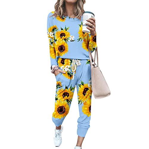 FANSU Chándal Conjunto Mujer Manga Larga, Girasol Estampado Casual Conjuntos Deportivos Completo Pijamas Trajes 2 Piezas Ropa de Casa Sweatshirt + Pantalones Set Talla Grande