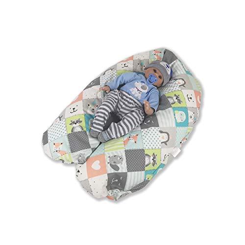 CorpoMED Stillkissen Maxi 194x35cm inkl. Bezug (Patchwork Animal) , handgenäht aus Deutschland, waschbarer Bezug aus 100% Baumwolle, verwendbar als Schwangerschafts-Kissen und Lagerungskissen