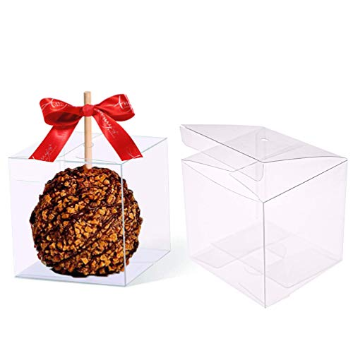 30 PCS Clear Candy Apple Box With Hole Top