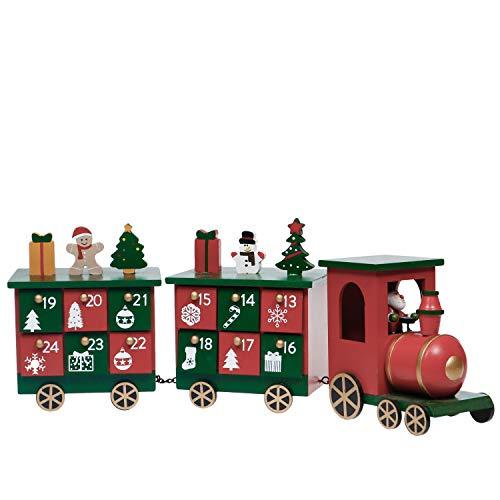 Valery Madelyn 14cm Weihnachtszug Kalender Holz Mini Zug Adventskalender, Advent Countdown Rot-Grün Weihnachtsdeko mit 24 Aufbewahrungskiste, Kinder Geschenk Kindergarten Deko
