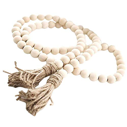 Aglife Natural Wood Bead Garland Set with Tassels, Farmhouse Beads Prayer Beads Wall Hanging Decor,57 Inches