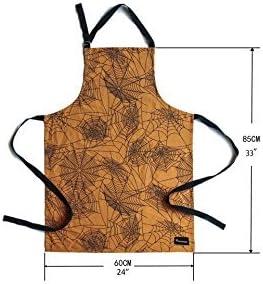 PHANTOSCOPE Decorative Kitchen Aprons Orange Spider Web Fashion Craft Cooking Adjustable Shoulder Strap 28 x 33 inch 70 x 85 cm