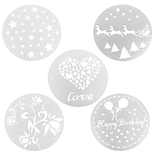 5 moldes de plantilla para decoración de tartas, DIY Molde de Aerosol de Pastel de Cumpleaños Decoración para tartas para bodas, cumpleaños, Navidad