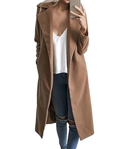 Sentao Donna Invernale Cappotto Lungo Manica Lunga Elegante Trench Blazer Giacca Parka Outwear