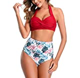 kuppl Two Piece Bikini Swimsuit for Women, Bathing Suits Halter Top with Swimwear Sexy High Waisted Tummy Control Bottom Bikini Set Red Medium