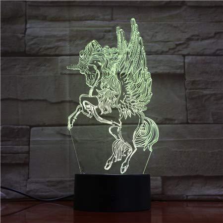 Unicornio Unicorn Party Novità Giocattoli per animali 3D Lampada da tavolo a LED per la notte Lampada da comodino Decorazione Regalo per bambini