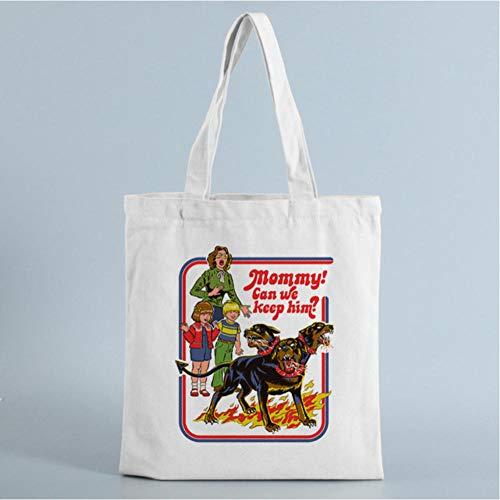 GUTONGHAO Summer Evil Devil Letter Print Lustige Damen Leinwand Große Kapazität Vintage Umhängetasche Harajuku Cartoon Casual Bags-8