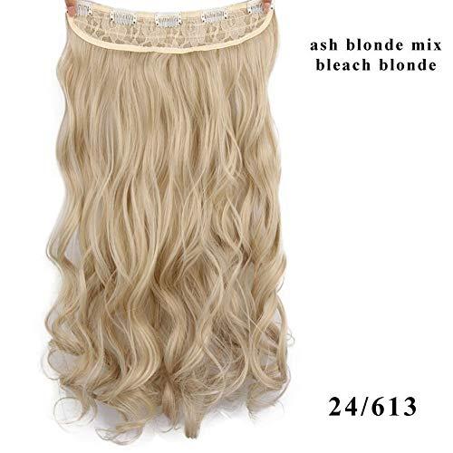 ERLIZHINIAN Mesdames Perruque de Mode Couleur 17 Long Clip synthétique ondulée de Fibres à Haute température dans l'extension de Cheveux des Femmes (Color : 613, Stretched Length : 22inches)