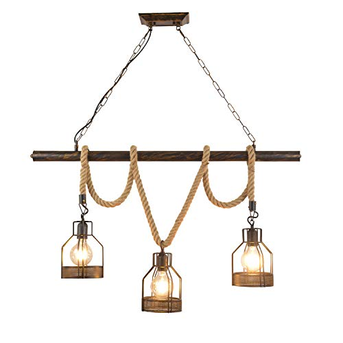 Retro Industrial 3 Heads E27 Pendant Light Height Adjustable Vintage Pendant Lamp Iron and Glass Lamp Shade Wood Suspension Lamp Loft Chandelier Indoor Hanging Lamp (No Bulbs)