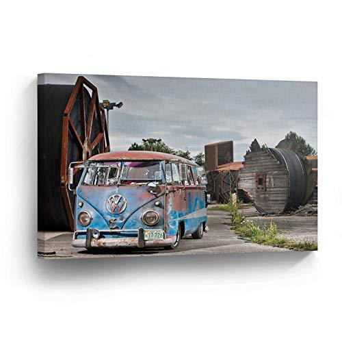 cwb2jcwb2jcwb2j Canvas Print Volkswagen Van Rusty Home Decor Camper Oude Vintage Bus Wall Art Gallery Ingelijst Canvas Art Klaar om op te hangen