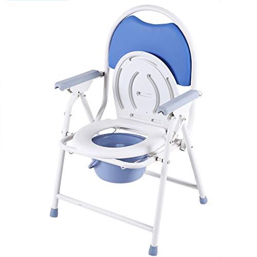 Medisch nachtkastje Commode stoel met zitkussen, opklapbare douchestoel voor oudere volwassenen, Handicap, ouderen, zwangere vrouw (wit, zwart)