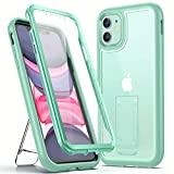 YOUMAKER [2021 Upgraded] iPhone 11 Case, with Kickstand Built-in Screen Protector Full Body Rugged Heavy Duty Protection Shockproof Clear Case Designed for iPhone 11 6.1 Inch - Green